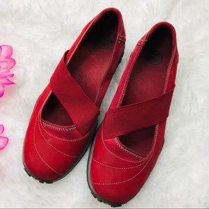 Timberland slip on Mary Jane flats shoes red
